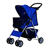 PawHut 4 Wheel Dog Pet Stroller Dog Cat Carrier Folding Sunshade Canopy with Brake Blue