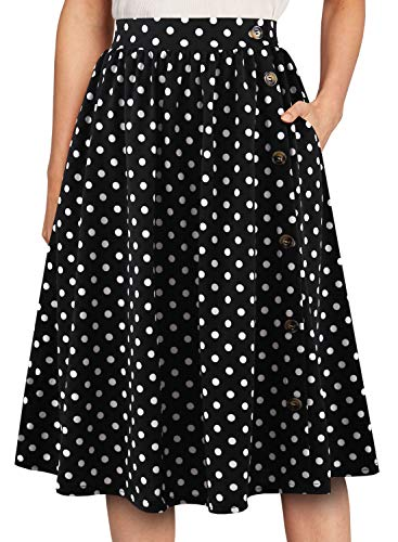YATHON Women's Business Retro Buttons Down Black Dot Swing Casual Skirts Chic Pleated Pockets Fall Fit and Flare Skirt for Fall Party Holiday (L, YT032-Black Dot)