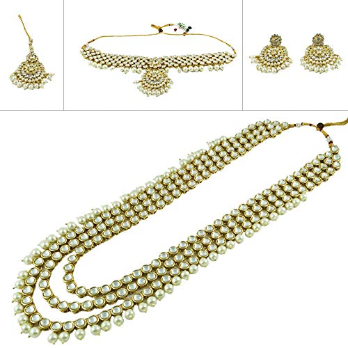 CROWN JEWEL Indian Bridal Wedding Kundan Choker 5 Pcs Pearl Jewelry Necklace Earrings Set for Women (White)