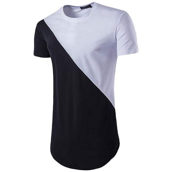 7004e07688 CHENGYANG Uomo Modo Estate Orlo Stondato Manica Corta T-Shirt ...