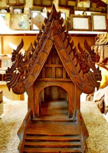Home Decor Spirit House, Traditional Thai ,Made From Teak Woodthe Temple Has Two Roofs, Inc. by WADSUWAN SHOP