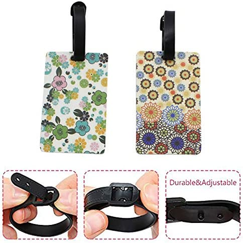 Mziart Floral Flowers Luggage Tags for Women, Colorful Travel Baggage Bag Name Tags Suitcase Identify Labels (6 Color Mixed)