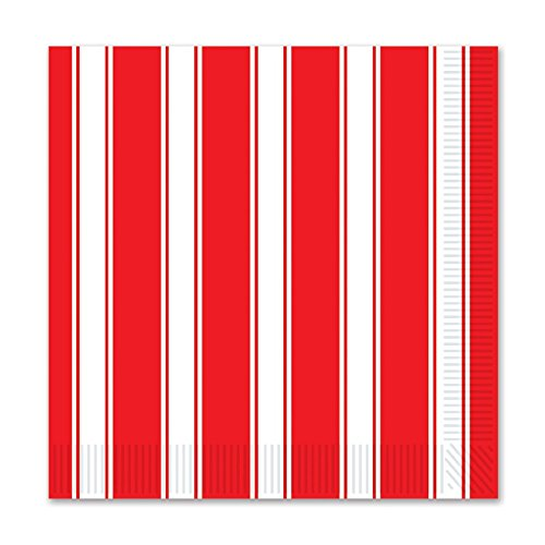 (Club Pack of 192 Red & White Stripes Party Disposable 2-Ply Beverage Napkins)