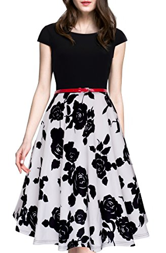 [HOMEYEE Women's 1950s Vintage Elegant Cap Sleeve Swing Party Dress A009 (M, Black + White)] (1950 Dress)