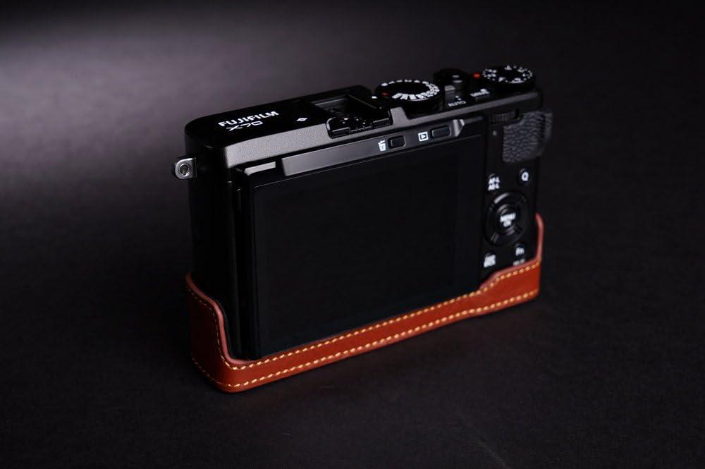 Brown Handmade Genuine real Leather Half Camera Case bag cover for FUJIFILM X-70 Fuji X Series X70 X-70 Bottom opening Version