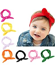 American Trends Baby Girl Big Bow Elastic Headbands Cute Turban Hairband(F-8 Pairs-Mix Color)