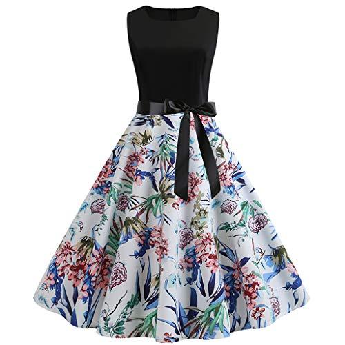 (Women Fashion Print Vintage 2009s Retro Swing Dress Hallmark Elegant Lady Event Cocktail Evening Party Dress Belt)