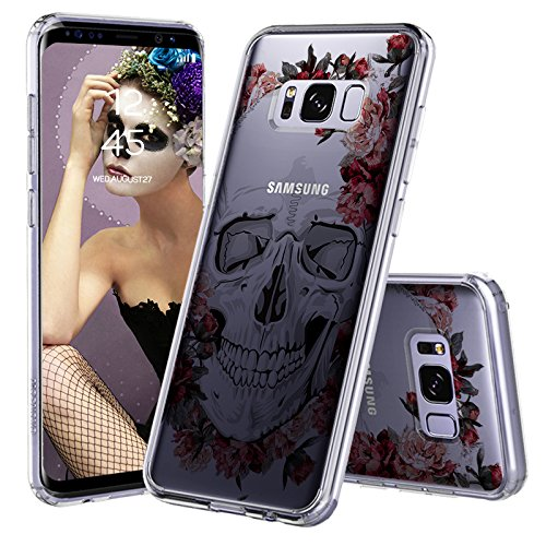 Galaxy S8 Case, Clear Galaxy S8 Case, MOSNOVO Cool Floral Skull Flower Clear Design Printed Transparent Slim Plastic Hard Back Cover with TPU Bumper Protective Case for Samsung Galaxy S8 (Skull Hard Case)