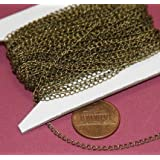 32ft spool of DYI Bulk Antique Brass curb Chain 1.8X2.8mm - Soldered Links