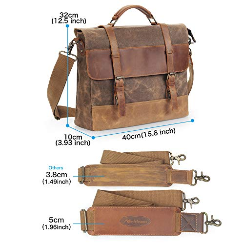 0a381b4032cc Manificent Men's Messenger Bag, 15.6 Inch Vintage Waxed Canvas Genuine  Leather Large Satchel Shoulder Bag Waterproof Canvas Leather Computer  Laptop ...