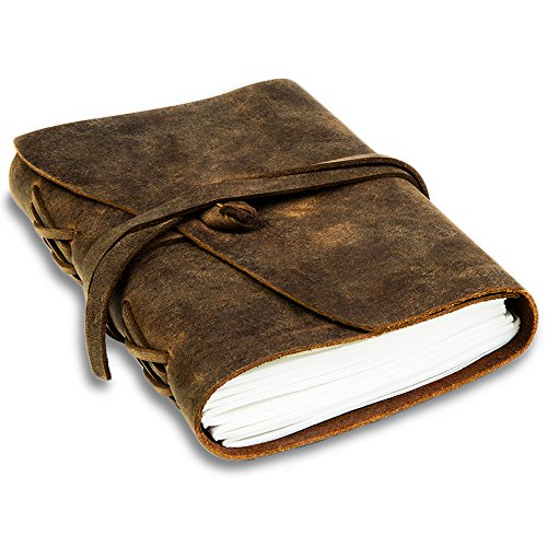 Handmade Leather Journal and Notebook With Unlined Paper, 240 Pages, 7×5 ~ Men's  Women's, Vintage Style ~ Brown Genuine Leather Cover Crafted in In…