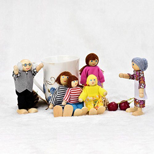 - E-SCENERY 6Pcs Carton Poseable Wooden Doll Family Pretend Play Mini People Figures for Dollhouse, Toys for Kids Girl Boy Toddlers