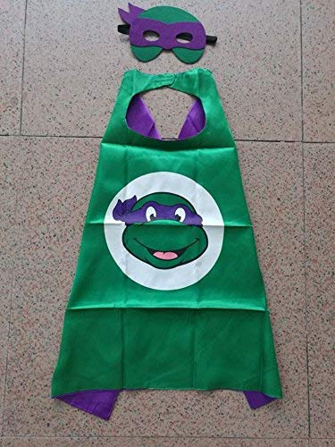 Ontario Warehouse Superhero Halloween Party Cape and Mask Set for Kids 15+ Styles! (Teenage Mutant Ninja Turtles Donatello) -