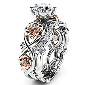 OldSch001 Womens Ring Silver & Rose Gold Filed Wedding Engagement Floral Rings Band