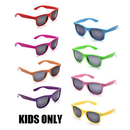 Neon Colors Party Favor Supplies Unisex Sunglasses Pack of 8 for Kids (8 Pack Mix) by Pibupibu