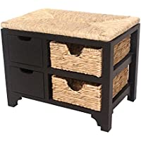 Heather Ann Creations Vale Series Multi Purpose 2 Drawer Wood Entryway Storage Bench with 2 Hyacinth Baskets, Black