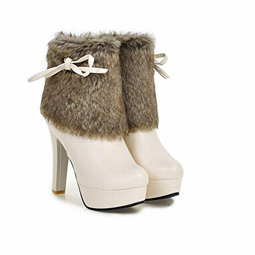 Latasa Womens Faux Hair Platform High Heels Short Boots Beige 9JiCmhx2pw