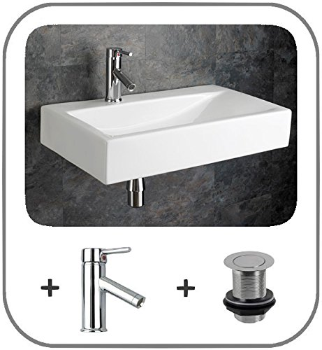 Clickbasin Wall Mounted 66cm x 38cm Altomura Rectangular Wash Basin With Single Lever Tap And Pop Up Waste