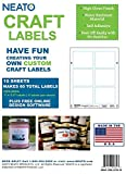 Neato Blank Craft Labels - High Gloss, Vinyl, Water Resistant, 2'' X 3'' & 3'' X 3.5'' - 5 Sheets Each - 70 Labels Total