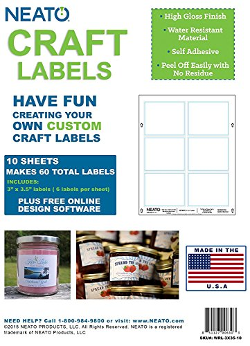 Neato Blank Craft Labels - High Gloss, Vinyl, Water Resistant, 2'' X 3'' & 3'' X 3.5'' - 5 Sheets Each - 70 Labels Total by Neato