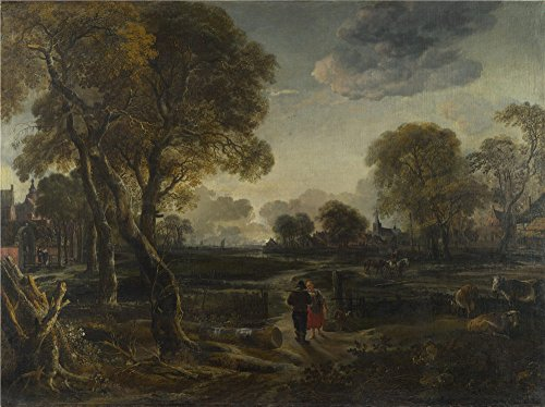 Oil Painting 'Aert Van Der Neer - An Evening View Near A Village,about 1650' 30 x 40 inch / 76 x 102 cm , on High Definition HD canvas prints, gifts for Bed Room, Kids Room And Laundry Room Decoration