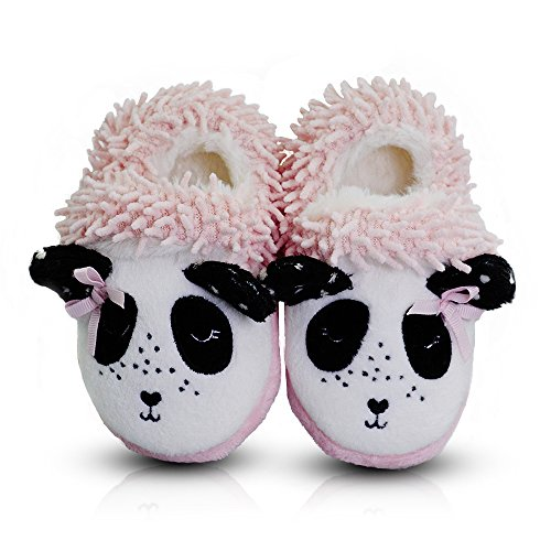 LA PLAGE Toddles Kids Fuzzy Plush Chenille Slippers with Cute Animal Panda Upper Warm Cotton Comfy Shoes(Boys/Girls)