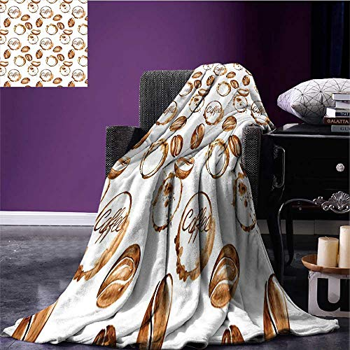sunsunshine Coffee Cozy Flannel Blanket Conceptual Watercolor Art with Beans and Spilled Java Drops Circular Stains Blanket as Bedspread Pale Brown White Bed or Couch 70