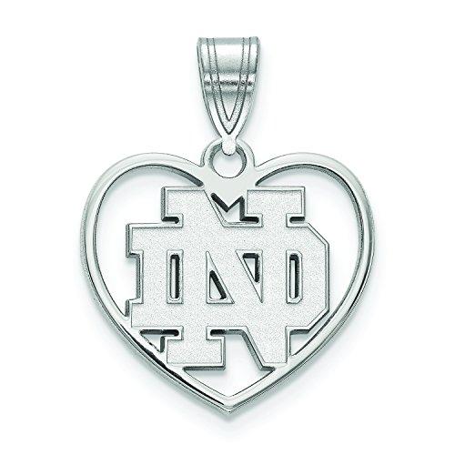 LogoArt Sterling Silver Notre Dame Fighting Irish Inside Heart Pendant