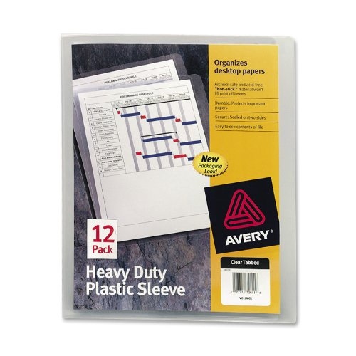 Avery Plastic File Folder (Avery Heavy-Duty Plastic Sleeves, Polypropylene, Letter Size, Clear, 12 per Pack (72611))