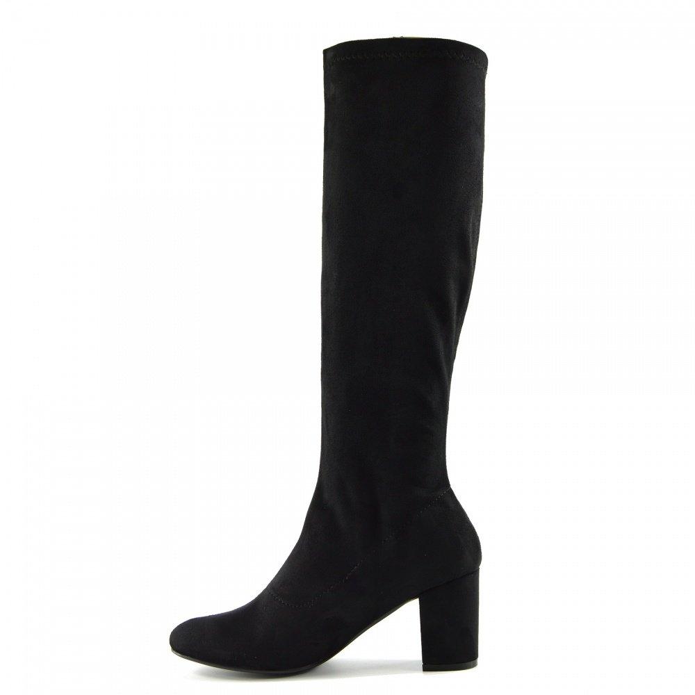 Kick Footwear Damen Lange Enge Bein-Schuhe Ziehen Sie auf Schwarzen High Heels Stiefel - UK 4/EU 37, Taupe