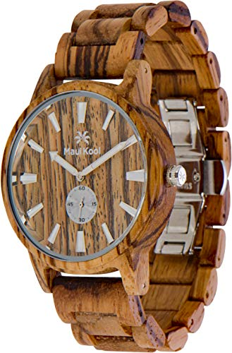 Nixon Wood Watch - Wooden Watch for Men Maui Kool Kaanapali Collection Analog Large Face Wood Watch Bamboo Gift Box (C4 - Zebra Face)