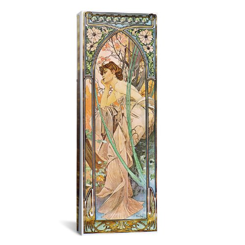 iCanvasART Evening Reverie, 1899 by Alphonse Mucha Canvas Art Print, 36 by 12-Inch