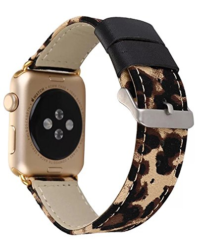 Jusinhel Compatible with Apple Watch Band 42mm 44mm Leopard Printed Fabric Canvas with Genuine Leather Strap Replacement for iWatch Series 3/2/1 Sport, Edition - Yellow with Gold Connector