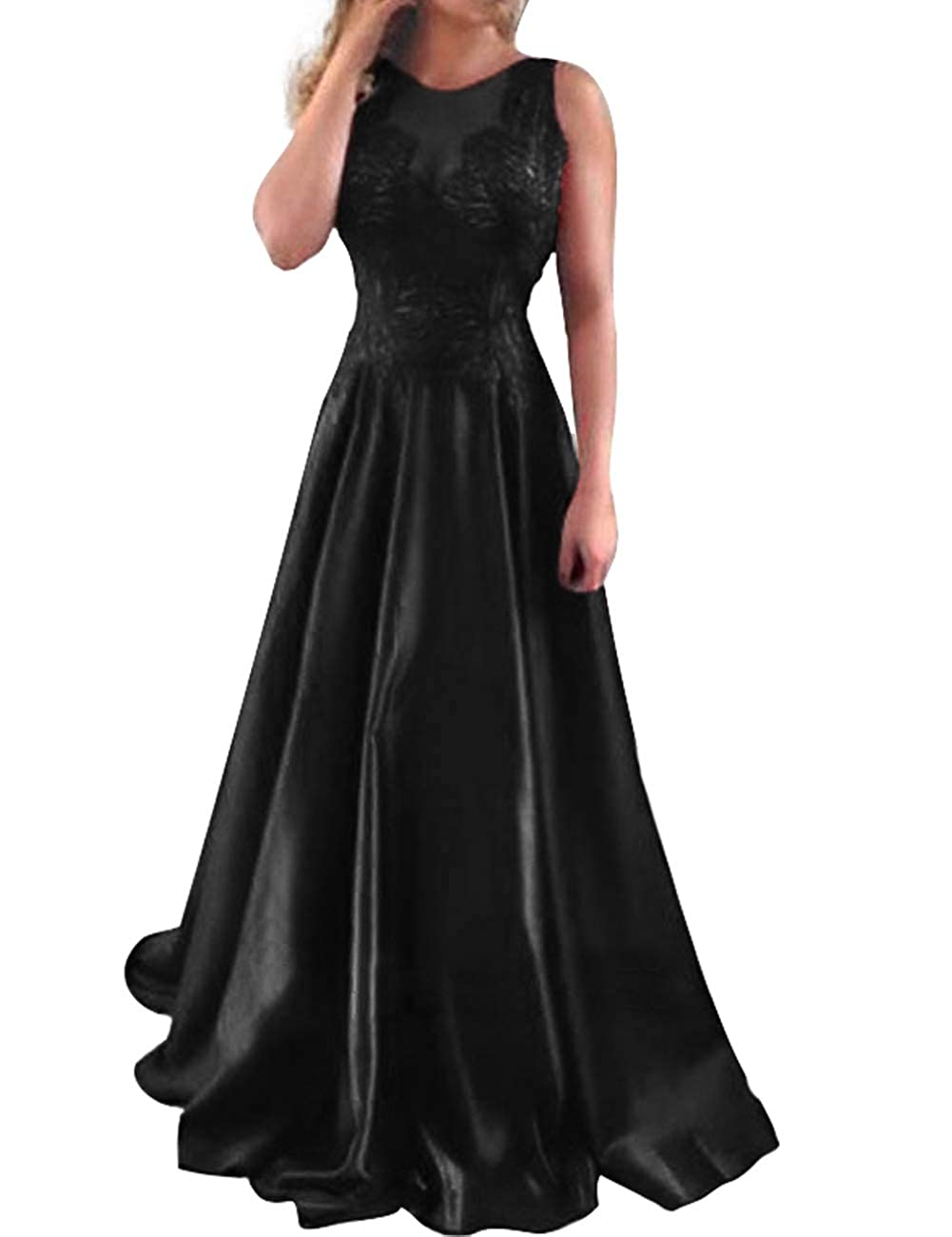 Black JAEDEN Prom Dresses Long 2019 Formal Evening Dresses Satin Prom Dress Gown Lace Evening Dress Gowns Open Back