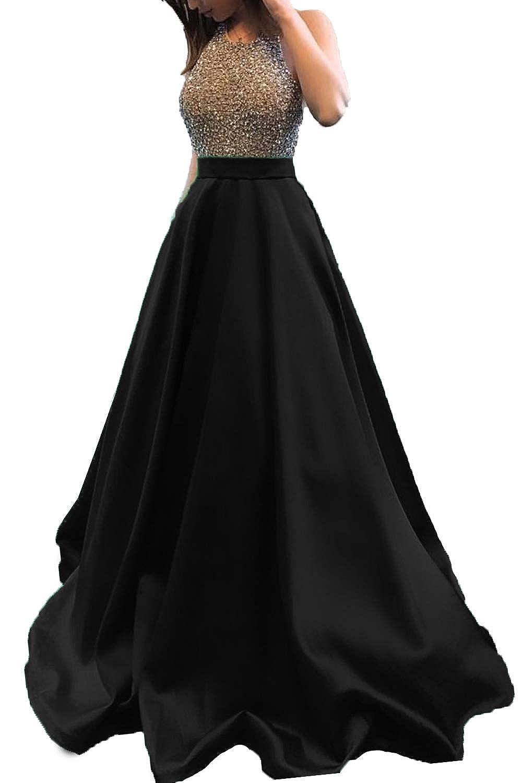 Black Promworld Women's Rhinestone Halter Neck A line Prom Dress Satin Formal Gown Evening Party Dress