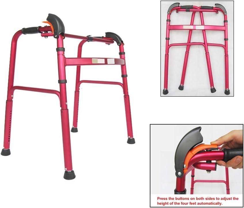 WANXJM Andador de Edad Avanzada, Bastidor portátil para discapacitados Plegable de Aluminio Ajustable en Altura, Bastón de Cuatro Patas, Rojo