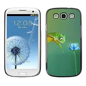 Paccase / SLIM PC / Aliminium Casa Carcasa Funda Case Cover para - Cute Spring Frog Flower Sweet Love Teal Nature - Samsung Galaxy S3 I9300