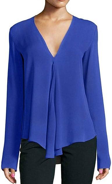 TOPKEAL Blusa Casual de Color Liso con Dobladillo Irregular para Mujer Madura de Talla Grande Camisa Manga Larga de Gasa: Amazon.es: Ropa y accesorios