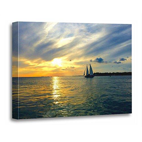 TORASS Canvas Wall Art Print Florida Key West Sunset Scenic Nature Sailboat Artwork for Home Decor 16