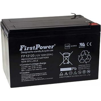 FirstPower Batería de GEL para Sillas de ruedas Scooter eléctrico Vehículos eléctricos 12Ah 12V VdS: Amazon.es: Electrónica