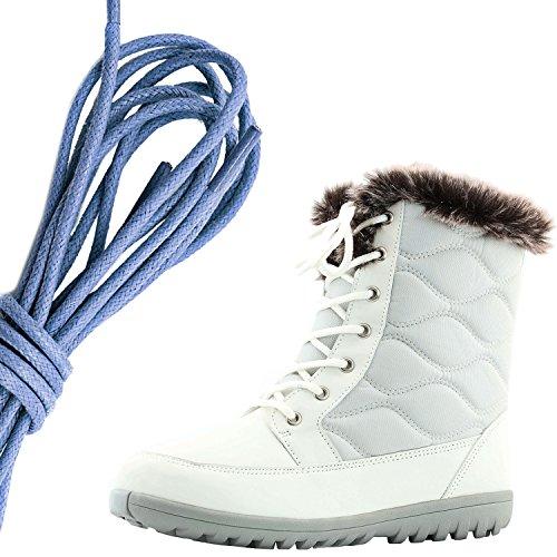 Dailyshoes Womens Confortable À Bout Rond Cheville Plate Haute Eskimo Fourrure Dhiver Bottes De Neige, Royal Blue Ivory Pu