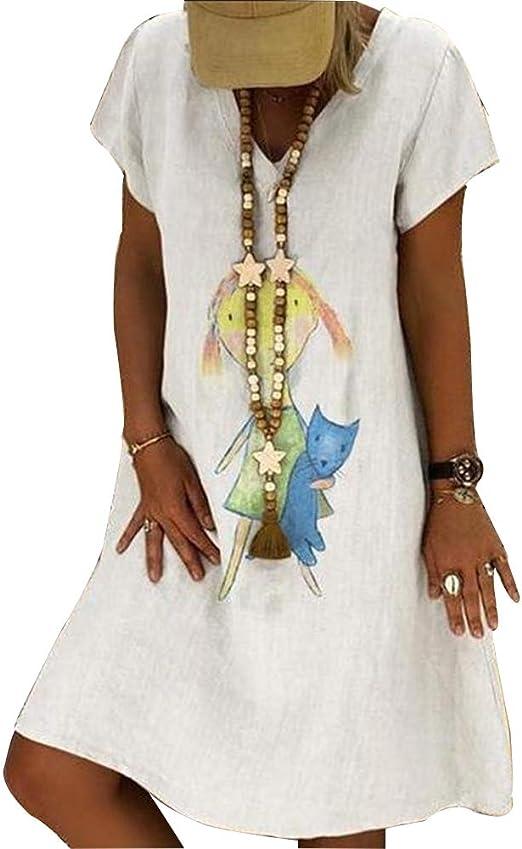 RENJIANFENG Vestido Boho para Mujer Sundress Vintage Étnico Verano ...