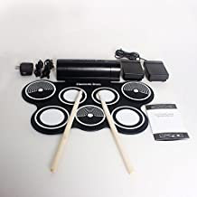 HTT Waterproof Silicone Digital 7 Pads Portable Electronic Roll Up Drum Pad Kit Support Most Softwares & PC Games