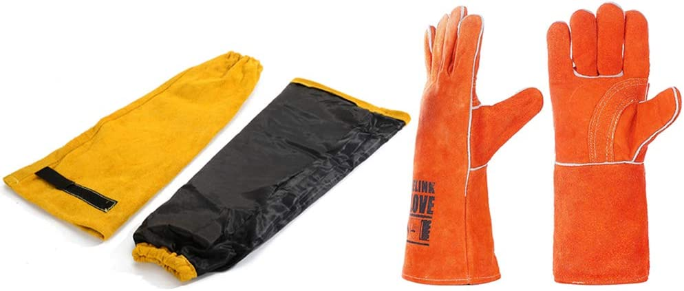 Heat Spark /& Flame Resistant Arm /& Gloves Protection Leather Welding Sleeves Welding Gloves