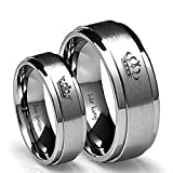 #7: Her King/His Queen Ring Silver Stainless Steel Wedding Bands Engagement Promise Rings Anniversary Gifts