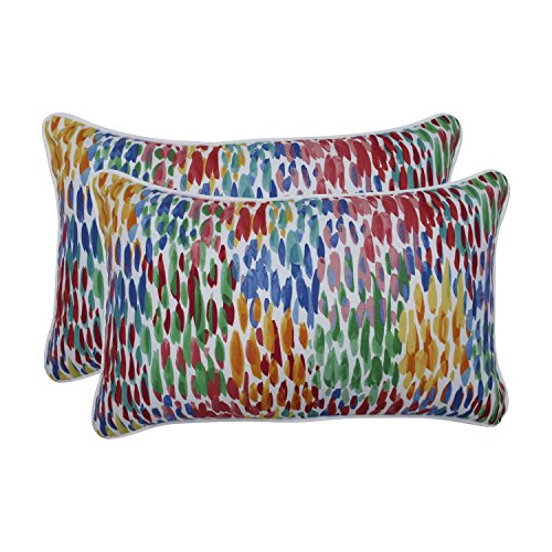 Pillow Perfect Outdoor | Indoor Make It Rain Zinnia Rectangular Throw Pillow (Set of 2), Blue