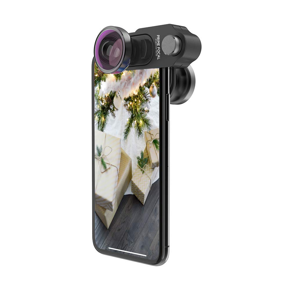 Prime Focal Phone Camera Lens Kit with Swappable Lens Design Includes Premium Lenses 120º Super Wide Lens, 180º FISHEYE Lens and 10X/15X Macro Lens Camera Lens Kit for iPhone X
