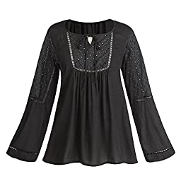 Women\'s Embroidered Eyelet Peasant Tunic Top - Black - Medium