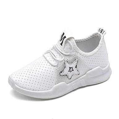 YanHoo Zapatos para niños Mujer niño niño niño Grande de Cinco Puntas Lentejuelas Zapatos Deportivos Transpirables Zapatos Casuales Zapatos para Correr ...