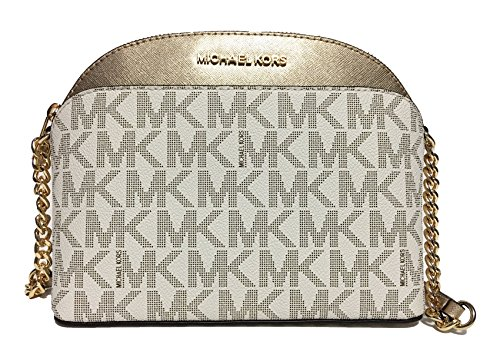 Michael Kors Emmy Medium Crossbody (Vanilla/Pale Gold) by Michael Kors
